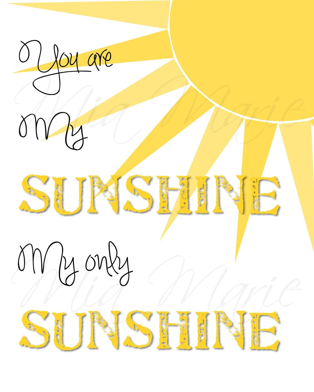 You Are My Sunshine Digital Printable Wall Art Nursery | Etsy