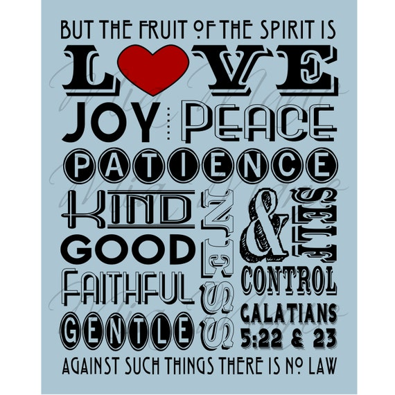 fruit of the spirit love joy peace scripture art etsy
