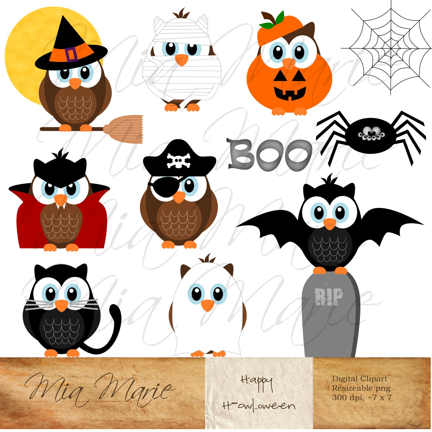 instant download digital clip art halloween clipart | etsy