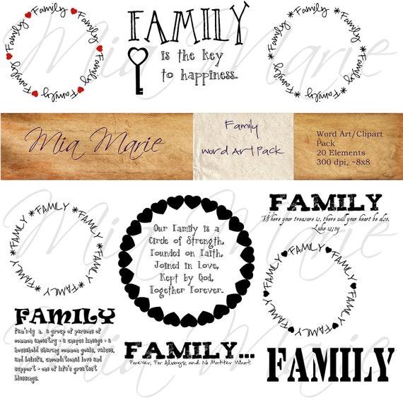 Instant Download Family Word Art Digital Word Art Family Etsy