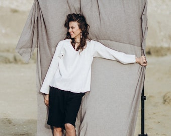 White felting sweatshirt - Oversize wool sweater with sleeves - Fashion woman Sweater - Free size Felted Top - White jersey