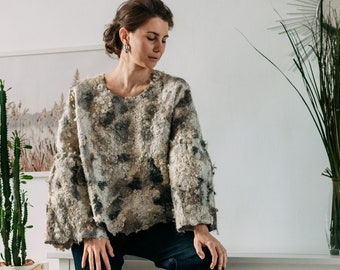 Eco fur sweatshirt for women - natural grey sweater with wide sleeves - Rustic Sweater - Free Felted wool Top - Boho wear eco jacket