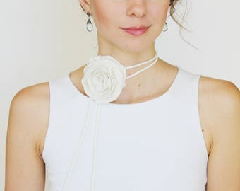 Felted Flower Necklace, Wedding Hair Flower, Gift For Bride, Cord Necklace, Rose Necklace, Felt Bracelet, Bridal Jewelry, Flower Accessory