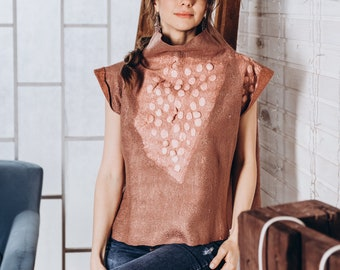 Pink cooper felted top with collar for women - Cinnamon Fashion Sweater - Pale Felted Top - Texture Felting Clothing - Felt Wool and silk