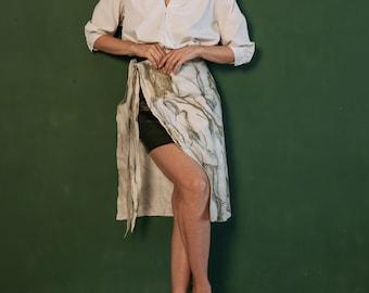 Skirt belt for woman - Nunofelting wrap basque - Green marble fashion belt skirt for fashion party- multi layers clothing - white boho skirt