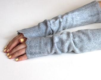 Grey Mittens, Nuno Felted Gloves, Wool Mittens, Fingerless Mittens, Womens Arm Warmers, Winter Gift, Boho Gloves, Warm Gloves, Mint Gloves