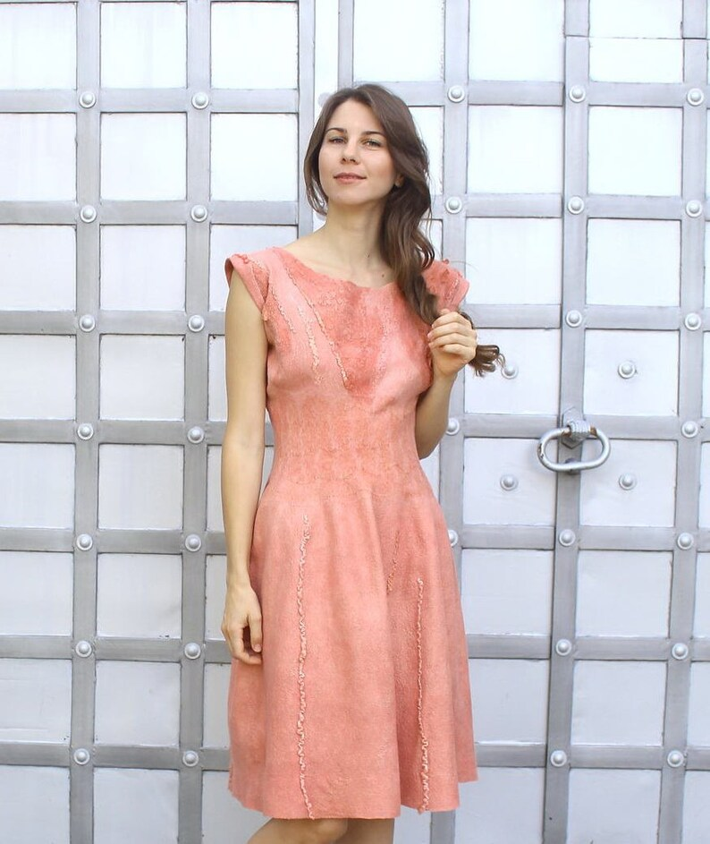 c40ca2818d4 Coral Felted Dress for wedding or prom party Formal Midi