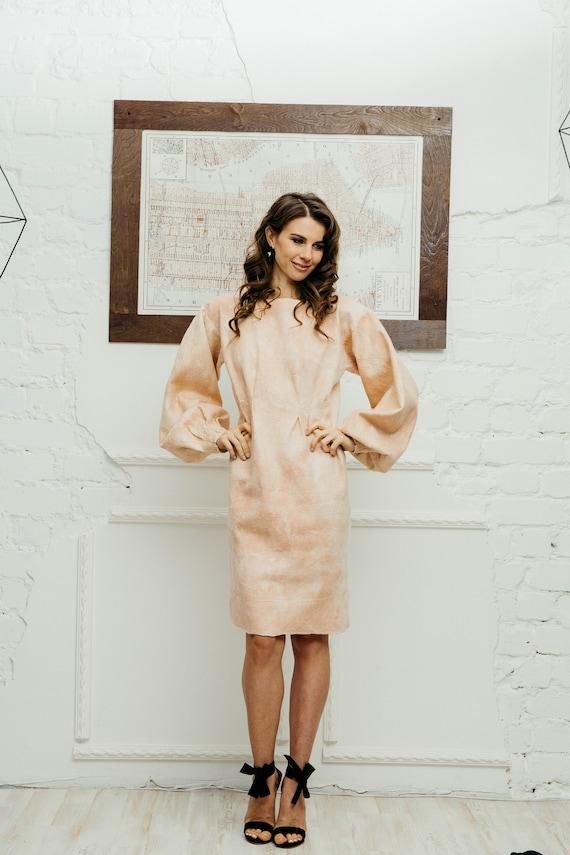 pastell rosa kleid mit langen rmeln f r hochzeit und xmas etsy. Black Bedroom Furniture Sets. Home Design Ideas