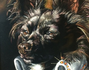 Custom Pet Black Velvet Portrait -  16 x 20