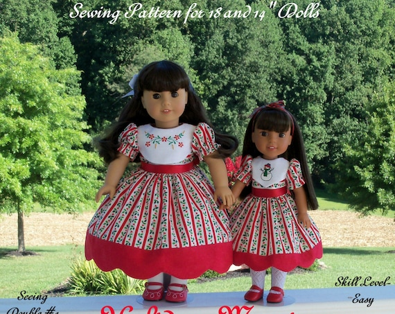"PDF Sewing Pattern: Holiday Magic/ Sewing Pattern fits BOTH 18"" American Girl ® and 14"" Wellie Wishers®."