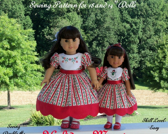 "PRINTED Sewing Pattern: Holiday Magic/ Sewing Pattern Fits BOTH 18"" American Girl®  and 14"" Wellie Wishers®."