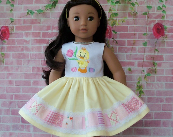 Fits Like American Girl Doll Clothes / Farmcookies Spring Doll Dress  / 18 Inch Doll Clothes/ Easter Doll Dress For American Girl