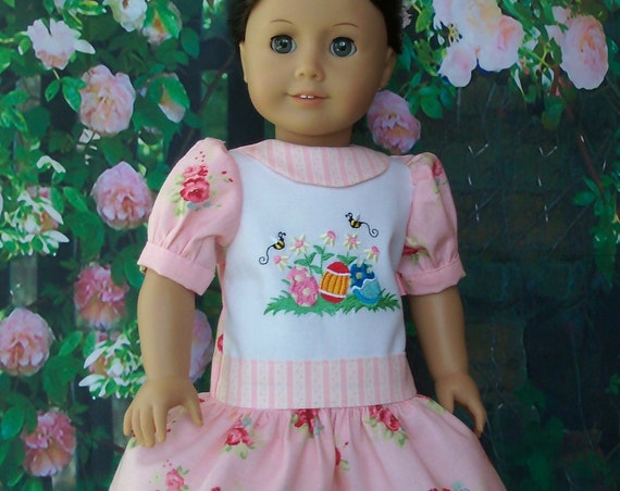 Fits Like American Girl  Doll Clothes / Embroidered Easter Dress by Farmcookies /18 Inch Doll Clothes For American Girl
