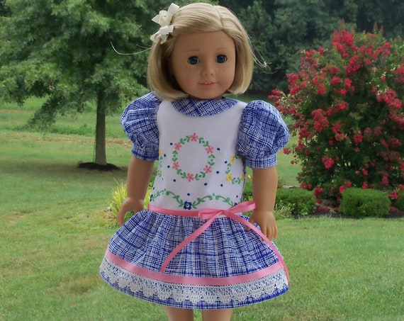 Fits Like American Girl  Doll Clothes / Farmcookies Embroidered Back to School Doll Dress  / 18 Inch Doll Clothes For American Girl