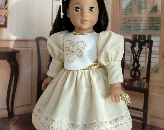 18 Inch DOLL CLOTHES / Special Occasion Embroidered Dress / Fits American Girl and other 18 Inch Doll