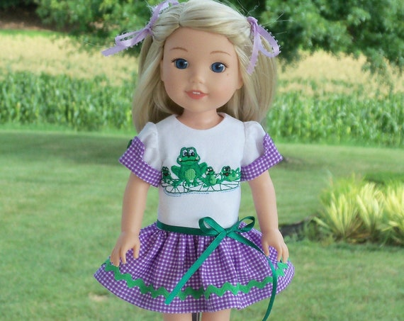 Like Wellie Wisher Doll Clothes/ Farmcookies Embroidered Summer Dress / 14 Inch Doll Clothes Fits Wellie Wishers, Glitter Girls