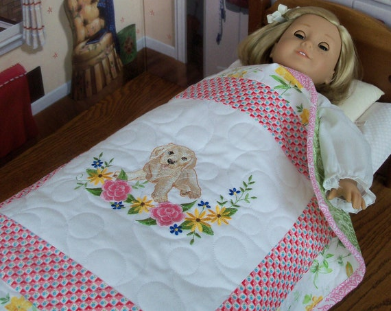 """Farmcookies Embroidered Keepsake  Heirloom Quilt for 18"""" American Girl Doll / Like American Girl Doll Clothes and Bedding"""