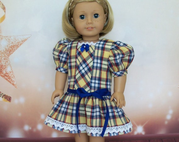 Fits Like American Girl Doll Clothes  / Farmcookies Homespun Plaid School Dress  / 18 Inch Doll Clothes For American Girl