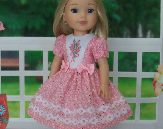 CUSTOM ORDER for Jenn / Like Wellie Wisher Doll Clothes/ Farmcookies Embroidered  Dress and Saddle Shoes