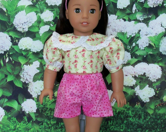 SPECIAL VALUE! Fits Like American Girl Doll Clothes / Farmcookies Summer Set: Crop Top and Shorts  / 18 Inch Doll Clothes for American Girl