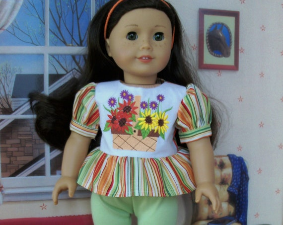 SPECIAL! Fits Like American Girl Doll Clothes / Farmcookies Embroidered Doll Top and Knit Pants / 18 Inch Doll Clothes For American Girl