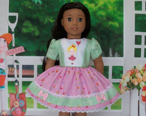 Special Value! Fits Like American Girl  Doll Clothes / Rainbow Sherbet Dress by Farmcookies / 18 Inch Doll Clothes For American Girl
