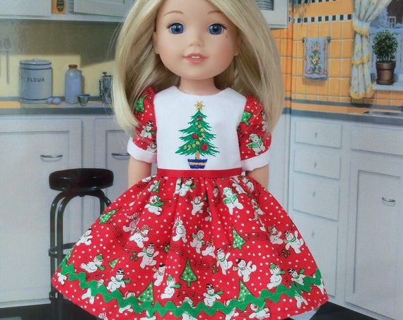 Like Wellie Wisher Doll Clothes/ Farmcookies Embroidered  Chrstmas Dress   / 14 Inch Doll Clothes Fits Wellie Wishers, Glitter Girls