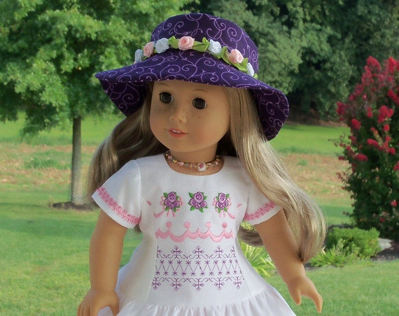 Like American Girl Doll Clothes /  Embroidered  Dress and Doll Hat  / Farmcookies 18 Inch Clothes for American Girl