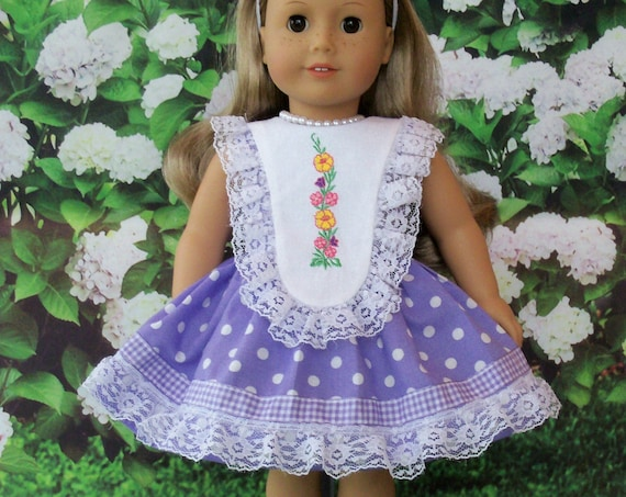 Fits Like American Girl Doll Clothes / Farmcookies Summer Doll Dress  / 18 Inch Doll Dress For American Girl
