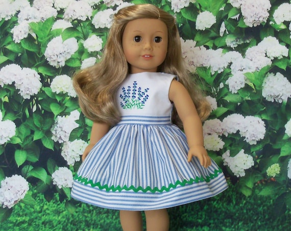 Fits Like American Girl Doll Clothes  / Embroidered Summer Doll Dress by Farmcookies / 18 Inch Doll Clothes For American Girl