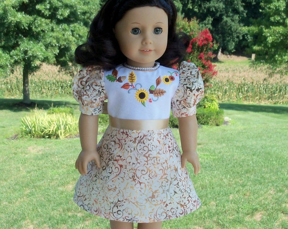 Fits Like American Girl Doll Clothes / Farmcookies Autumn Doll Dress / 18 Inch Doll Dress For American Girl