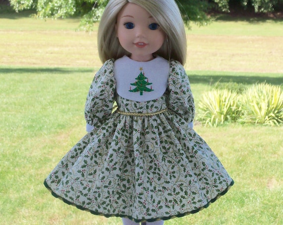 Like Wellie Wisher Doll Clothes/ Farmcookies Embroidered  Little Sister Holiday Dress  / 14 Inch Doll Clothes Fits Wellie Wishers