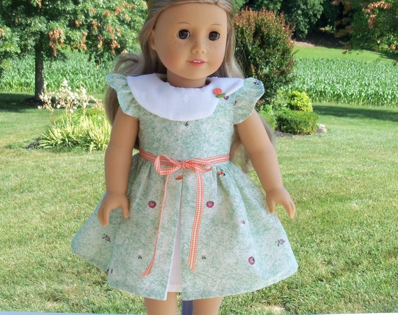 Fits Like American Girl Doll Clothes / Farmcookies Pleated Doll Dress  / 18 Inch Doll Clothes/ Summer Doll Dress For American Girl