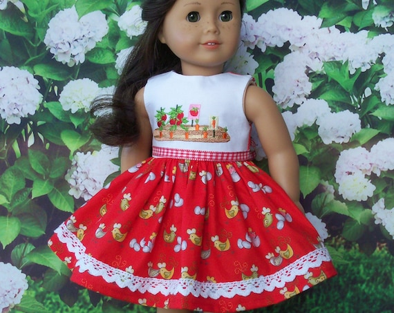 Fits Like American Girl Doll Clothes / Farmcookies Country Doll Dress  / 18 Inch Doll Clothes / Summer Dress For American Girl