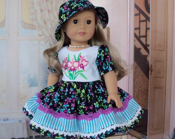 Fits Like American Girl Doll Clothes / Farmcookies Embroidered Doll Dress and Doll Hat / 18 Inch Doll Clothes For American Girl