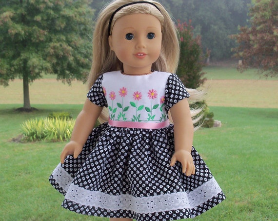 Fits Like American Girl Doll Clothes / Farmcookies School Doll Dress / 18 inch Clothes for American Girl