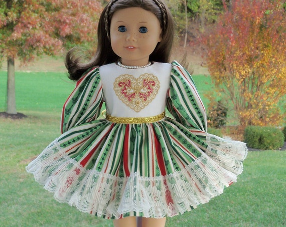 Fits Like American Girl Doll Clothes / Farmcookies Embroidered Holiday Doll Dress  / 18 Inch Doll Clothes For American Girl