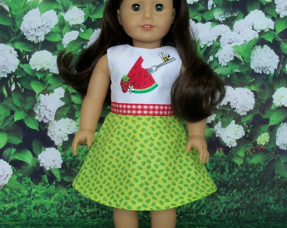 SPECIAL VALUE! Fits Like American Girl Doll Clothes / Farmcookies Embroidered Summer Doll Dress / 18 Inch Doll Clothes for American Girl