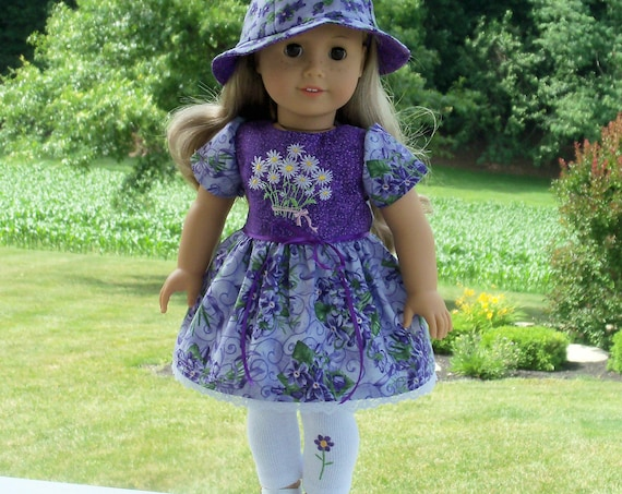 """Fits Like American Girl Doll Clothes/ Farmcookies Embroidered Dress,Leggings & Hat/ 18 Inch Doll Clothes For American Girl or Other 18"""" Doll"""