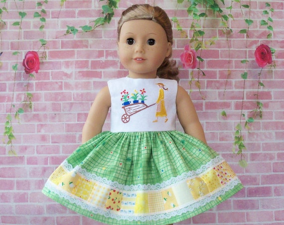 SPECIAL VALUE! Fits Like American Girl Doll Clothes / Farmcookies Spring Doll Dress  / 18 Inch Doll Clothes/ Doll Dress For American Girl