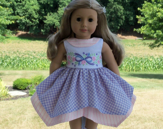 Like American Girl Doll Clothes / Handkerchief Style Embroidered  Dress / 18 Inch Doll Clothes by Farmcookies  fits American Girl