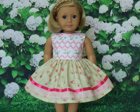 Fits Like American Girl Doll Clothes  / Embroidered Summer Doll Dress w/ Faux Smocking Farmcookies / 18 Inch Doll Clothes For American Girl