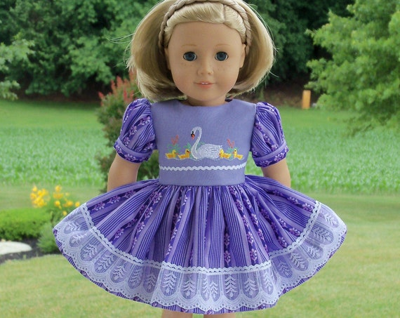 "Fits Like American Girl Doll Clothes / Embroidered Summer Dress by Farmcookies / 18 Inch Doll Clothes For American Girl or Other 18"" Doll"