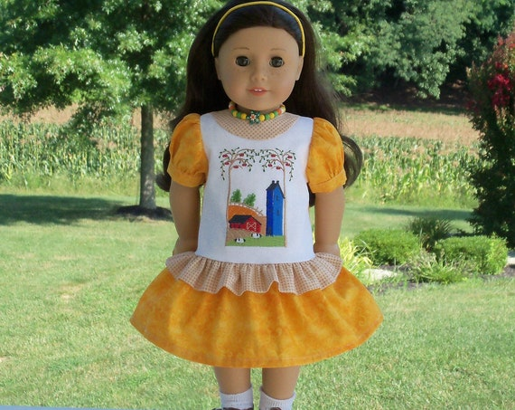 Fits Like American Girl  Doll Clothes / Farmcookies Embroidered Fall Doll Dress  / 18 Inch Doll Clothes For American Girl