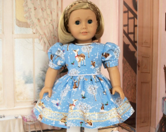 Fits Like American Girl Doll Clothes / Farmcookies Holiday Doll Dress  / 18 Inch Doll Clothes For American Girl
