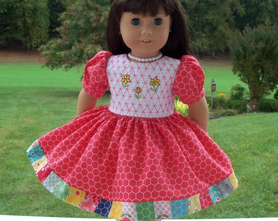 Fits Like American Girl Doll Clothes / Farmcookies 18 Inch Classic Style Doll Dress / 18 Inch Doll Clothes For American Girl