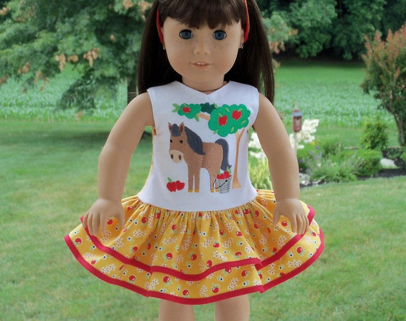 Fits Like American Girl Doll Clothes / Farmcookies 18 Inch Country Girl Doll Dress / 18 Inch Doll Clothes For American Girl
