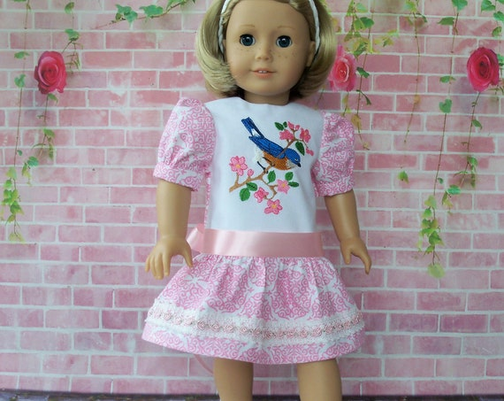 Fits Like American Girl Doll Clothes / Farmcookies Spring Doll Dress  / 18 Inch Doll Clothes/ Summer Dress For American Girl