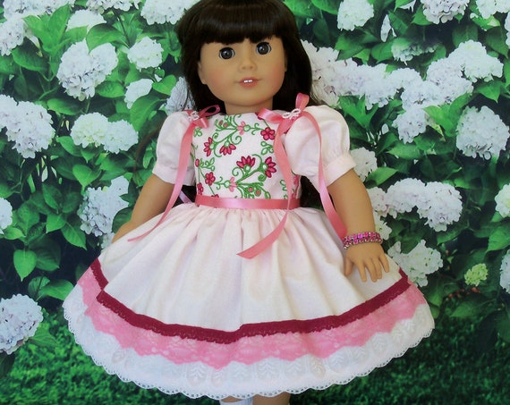 Fits Like American Girl  Doll Clothes / Farmcookies Embroidered Special Occasion Dress and Slip / 18 Inch Doll Clothes For American Girl