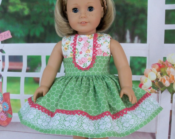 Fits Like American Girl Doll Clothes / Farmcookies  18 Inch Doll  Dress  / 18 Inch Doll Clothes For American Girl